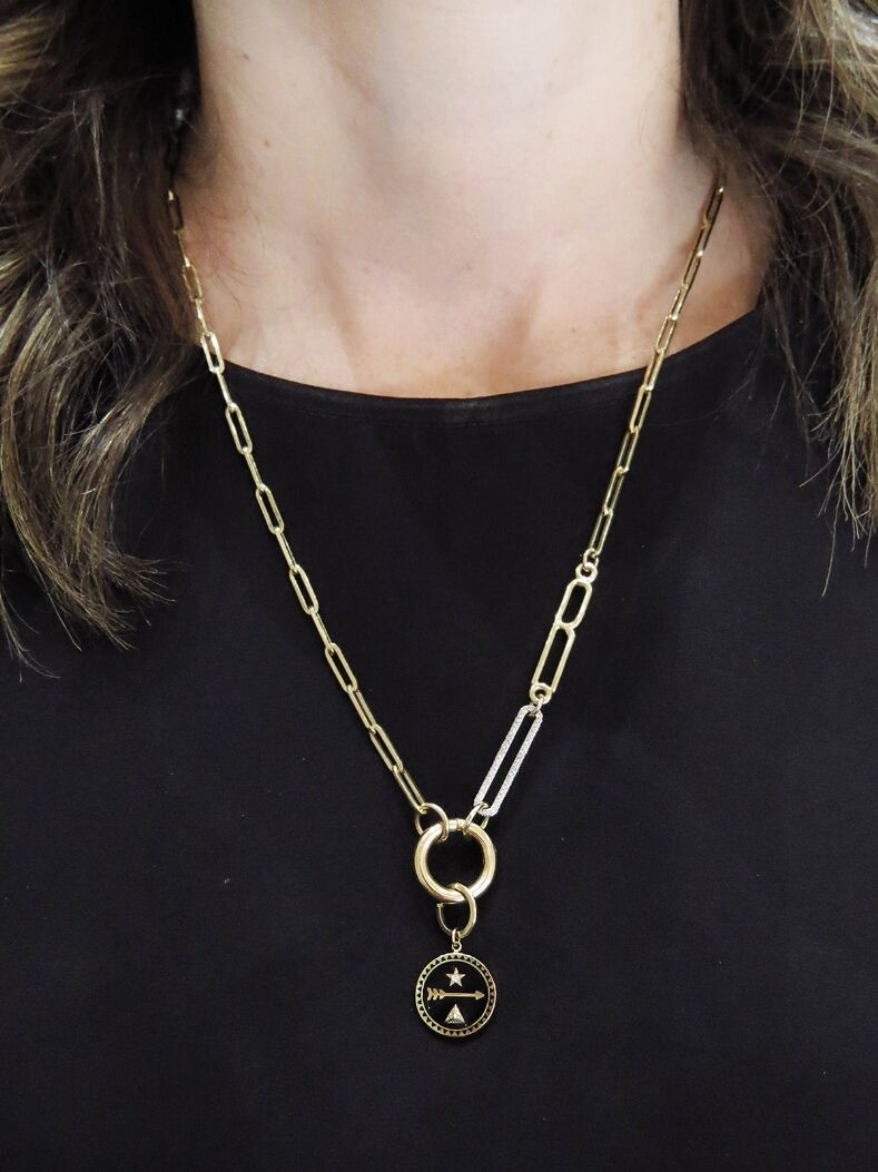 Foundrae - Small Initial Diamond Link Necklace - Handcrafted