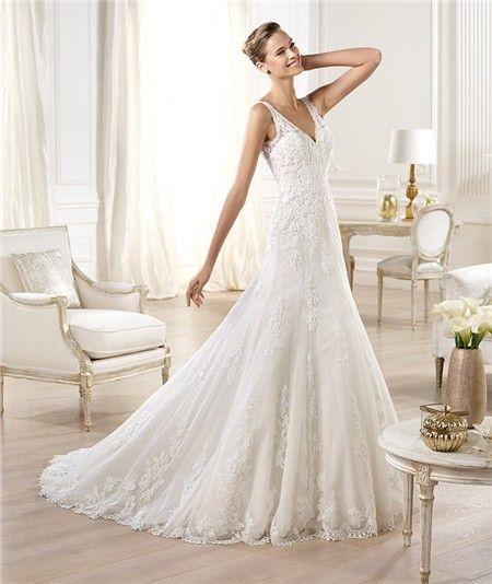 Image Result For V Neck A Line Wedding Dress