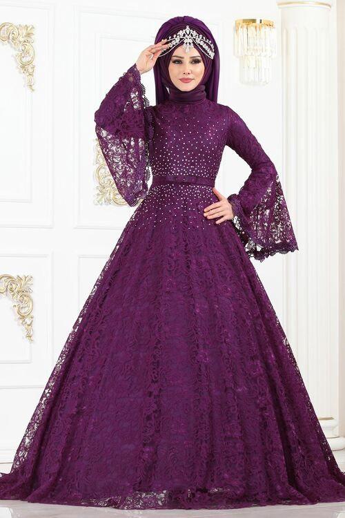 Modaselvim Abiye Volan Kol Tasli Dantel Abiye 5143ay342 Mor Elbiseler Islami Giyim Elbise Dugun