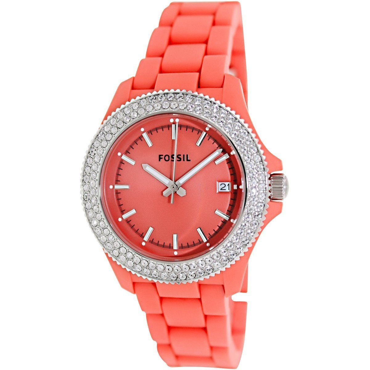 Delight in the unexpected blend of sporty and sophisticated elements that distinguishes a watch in Fossil's Retro Traveler series. The orange resin strap with a crystal framed dial in the same vibrant hue creates a show-stopping accent.