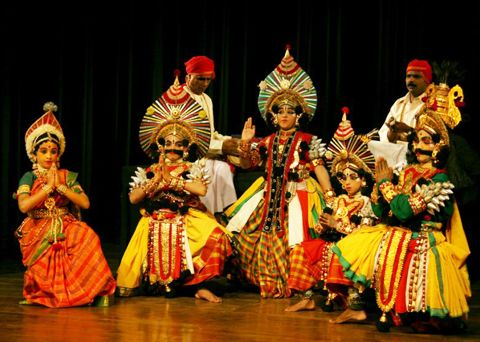 Yakshagana Is A Form Of Dance Drama And Themes Are Derived From The Indian Epics It Is A Folk Art Yak Dance Of India Indian Classical Dance Traditional Dance