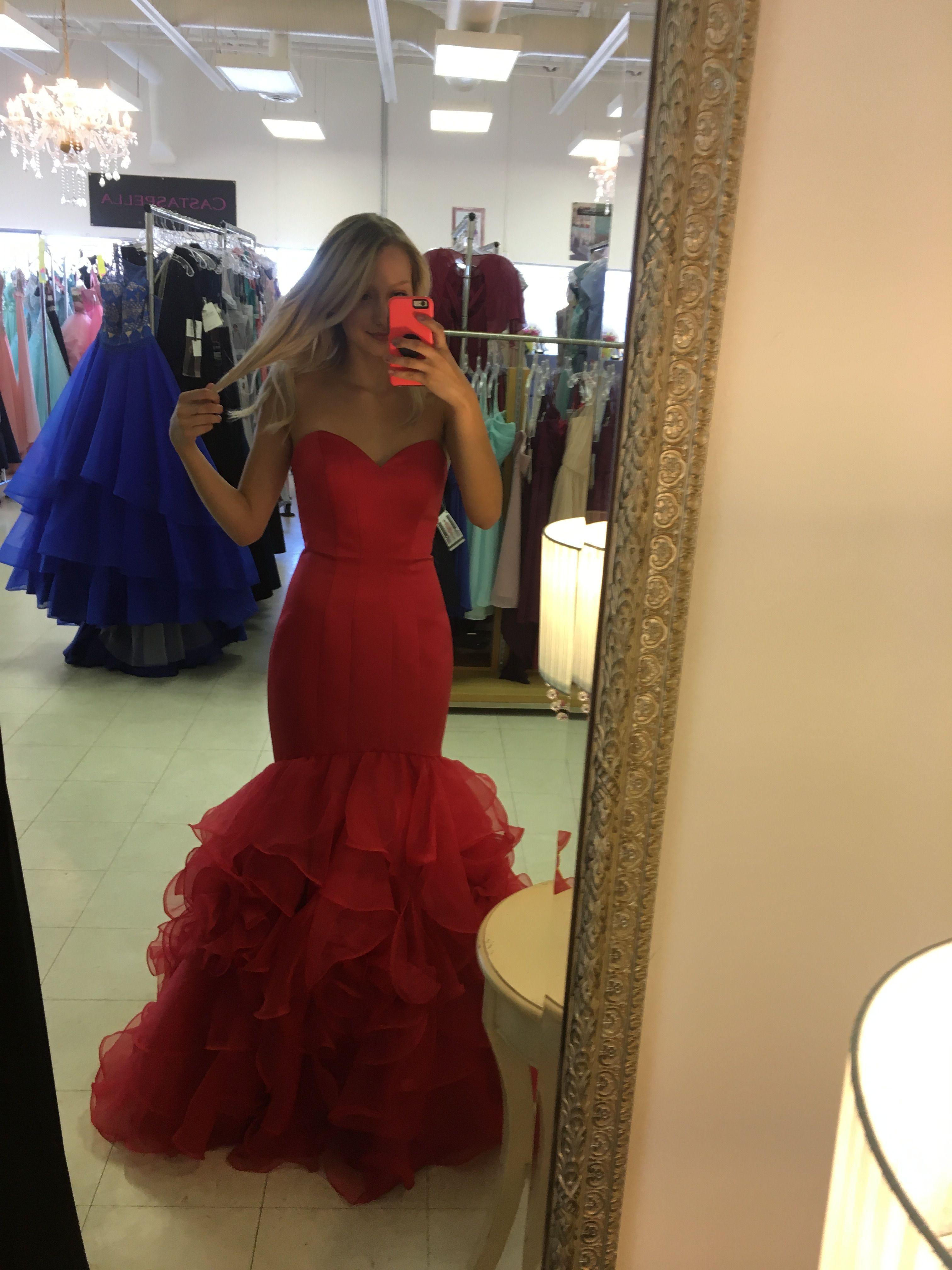 Red strapless prom dress grad dresses in pinterest