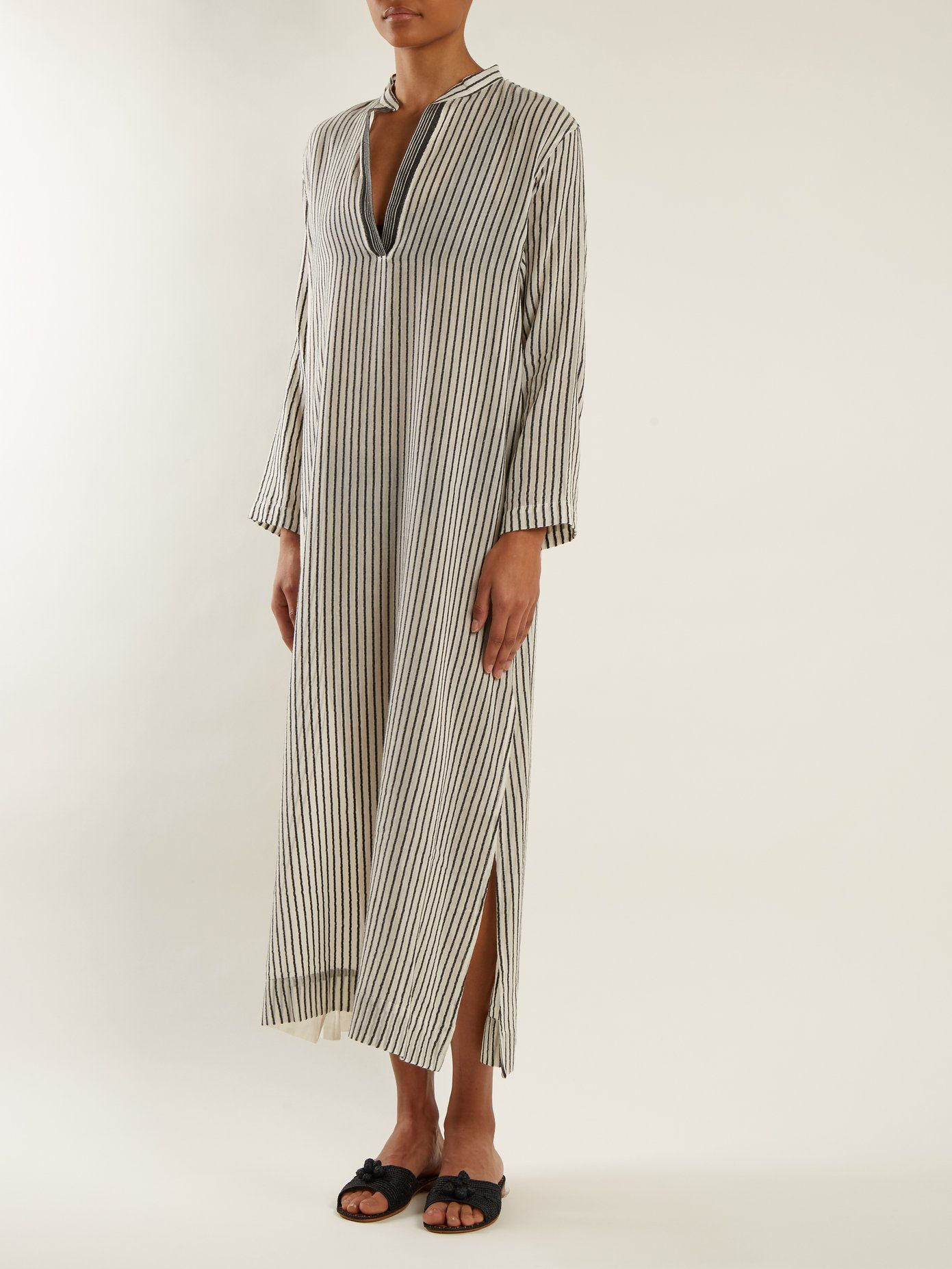 Kika Mandarin-collar striped kaftan SU Designs Low Price Fee Shipping For Sale KvlgtA
