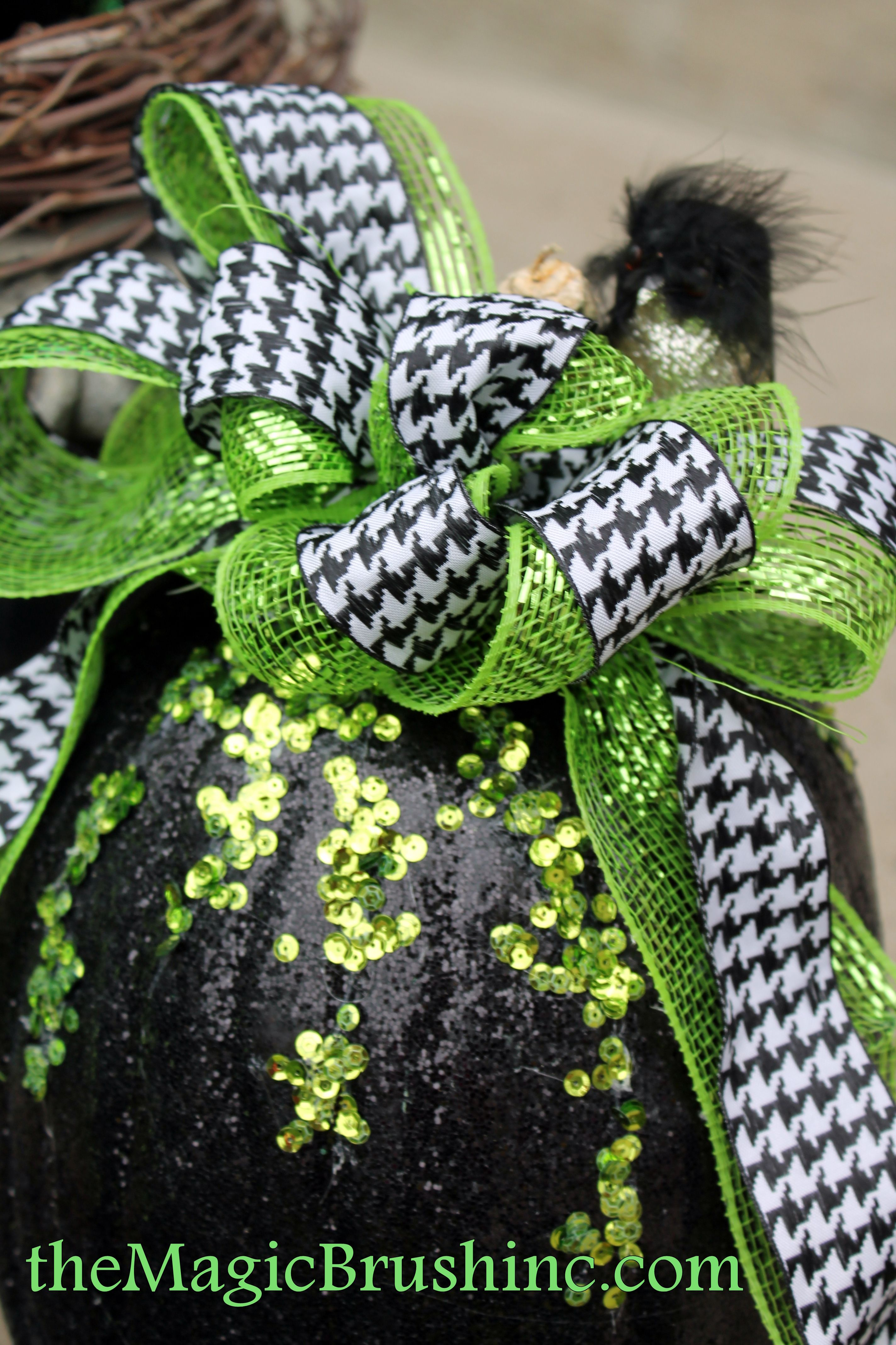 Cool Green Halloween Black spray painted pumpkin with
