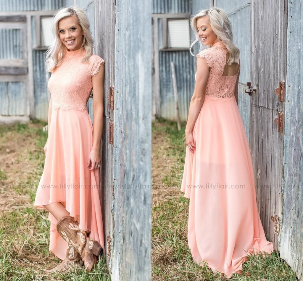 Peach Country Style Bridesmaid Dresses 2019 High Neck Lace Top Open Back High Low Maid Of Honor Beach Wedding Guest Gowns Cheap Customized From Modeldress 57 Wedding Guest Gowns Country Style [ 950 x 1024 Pixel ]