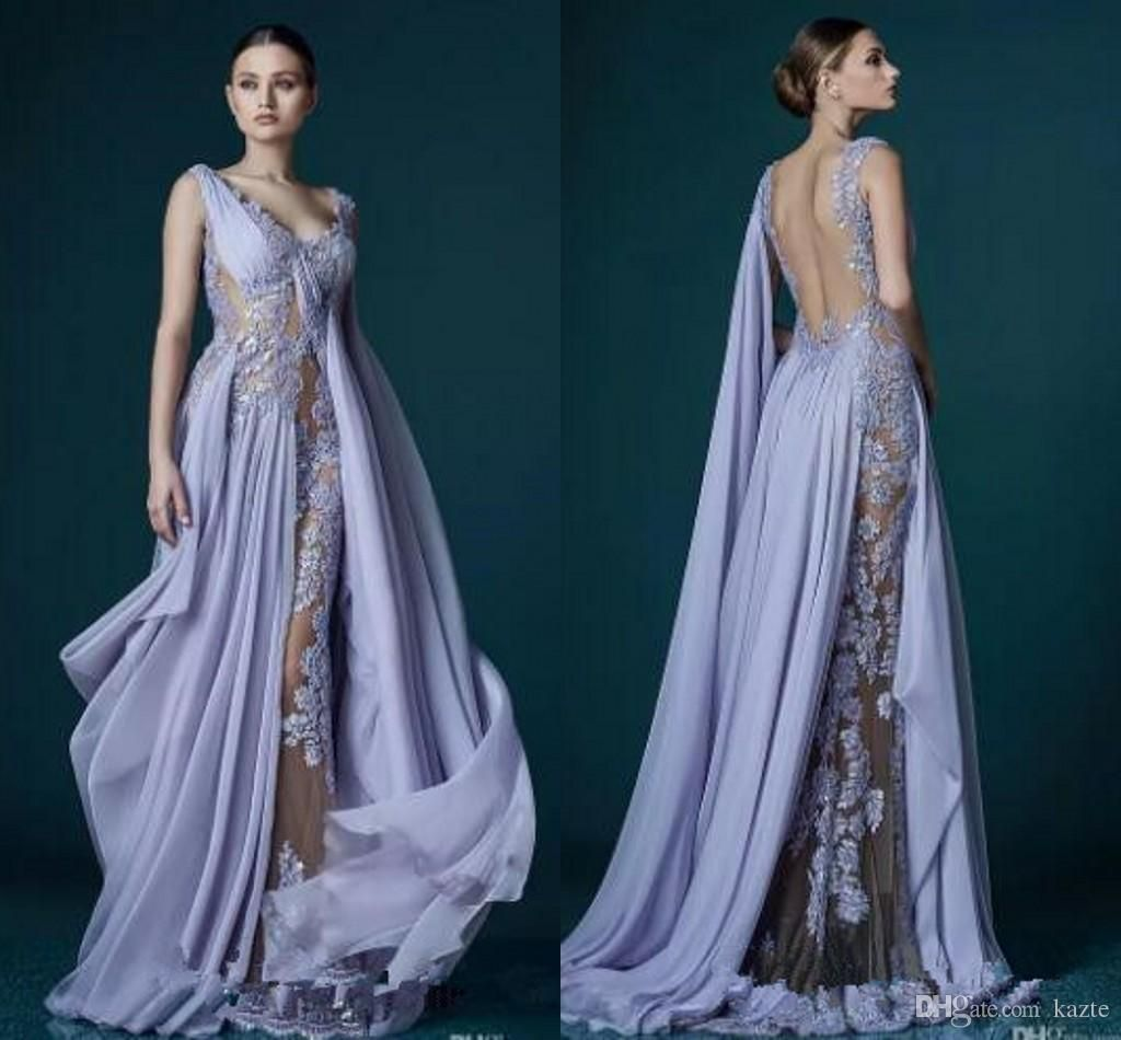 Deep V-neck Lavender Evening Dresses With Wrap Appliques Sheer ...