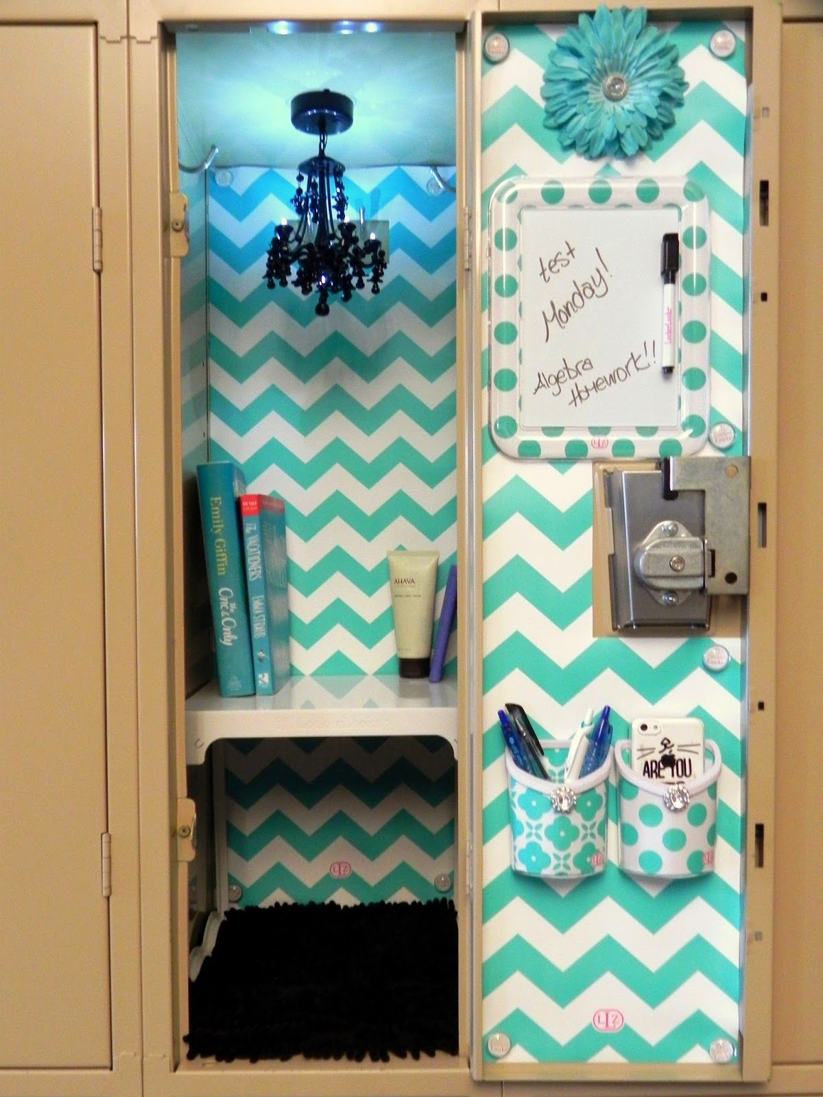 Image of blue diy locker decorations middle school for Decoration stuff