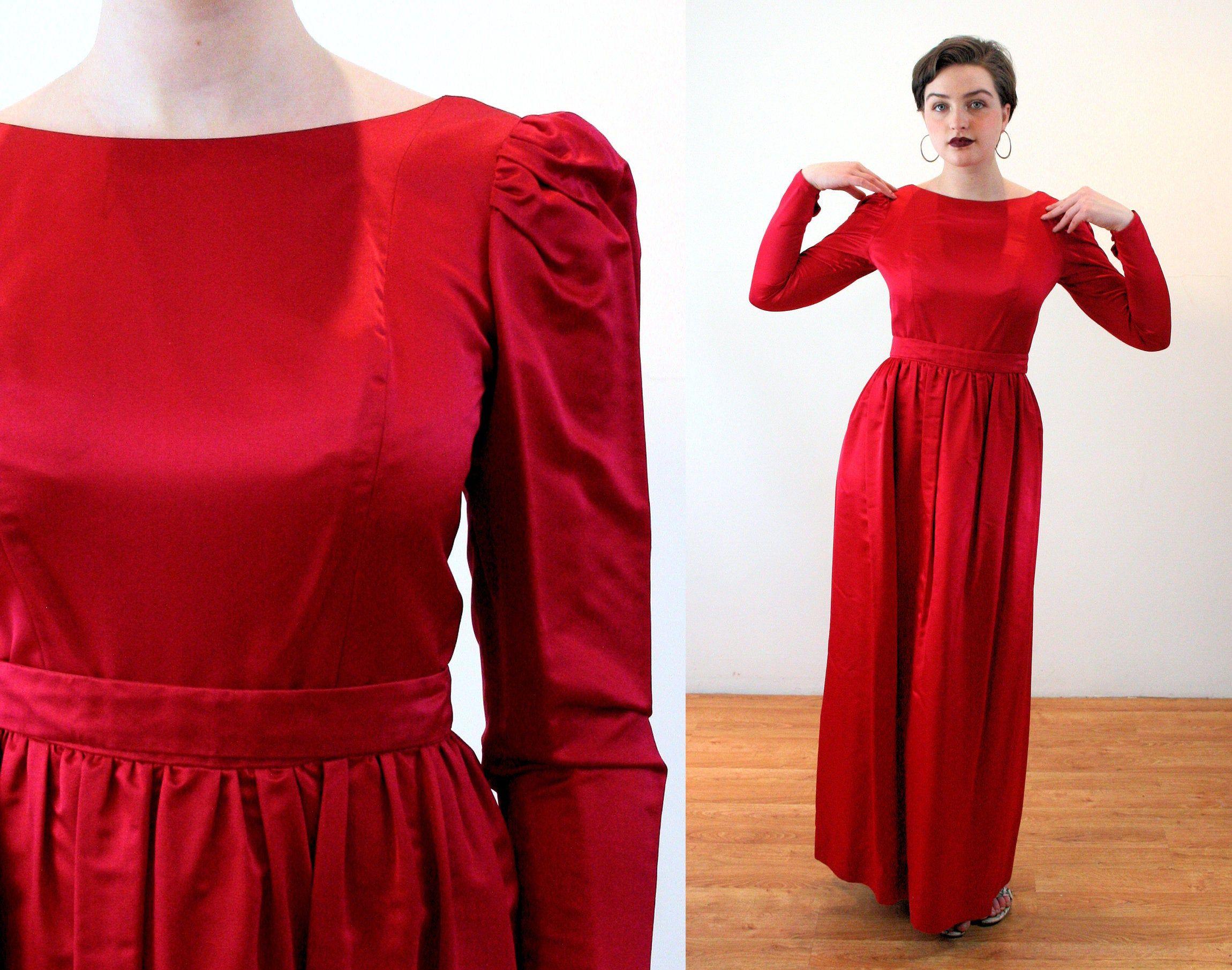 80s Couture Silk Column Gown S Elegant Red Vintage Elizabeth Etsy Column Gown Long Dress Gowns [ 1810 x 2300 Pixel ]