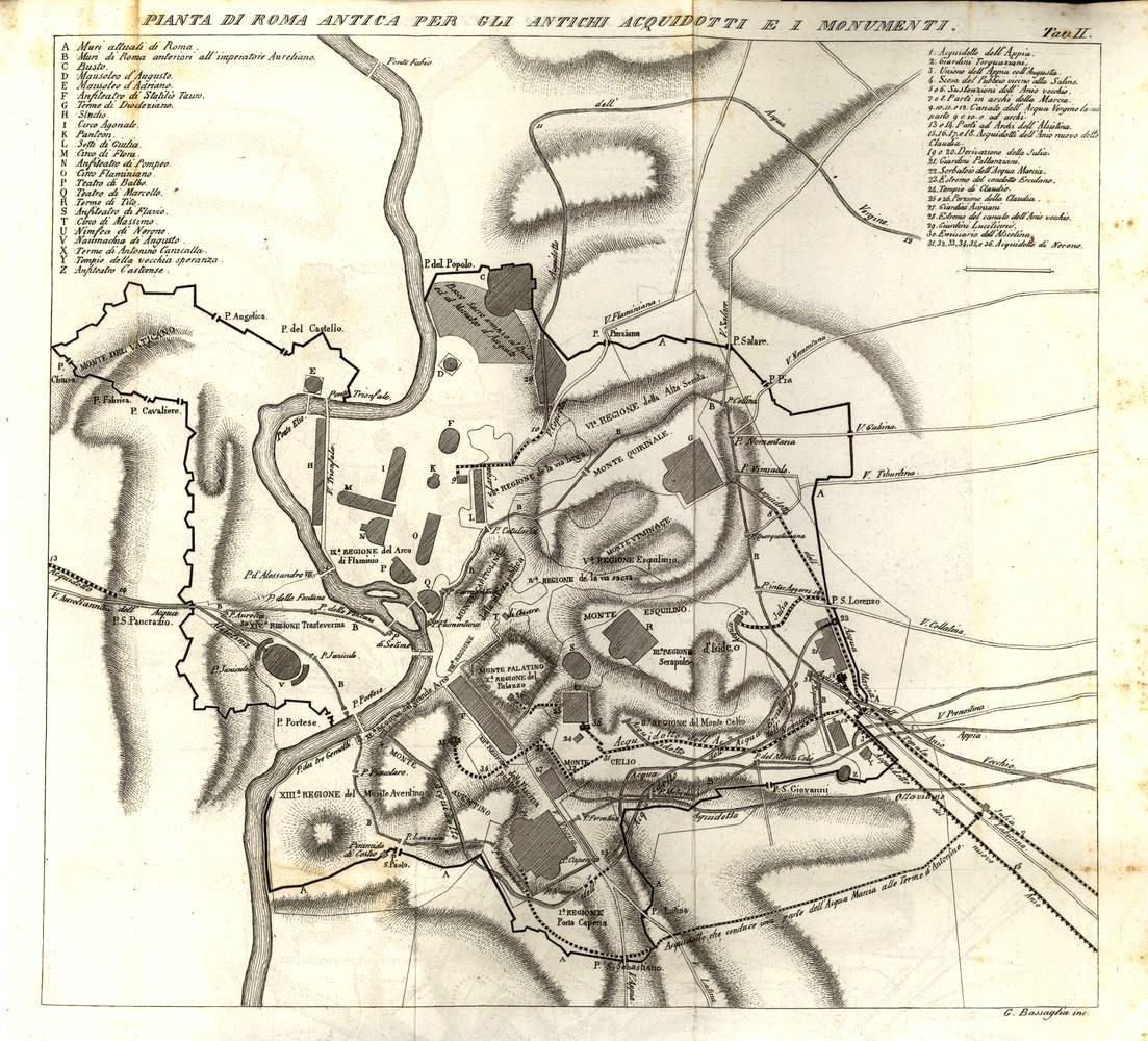 Cartina Antica Roma.Pianta Di Roma Con L Indicazione Dei Monumenti Antichi E Dei Percorsi Degli Acquedotti Roma Mappa Acquedotto Illustrazione Rome Map Map Humanoid Sketch