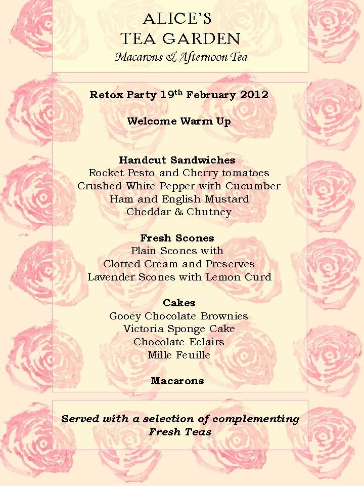 February Afternoon Tea Party Menu | Pink Tea ...in Memory of Jacque ...