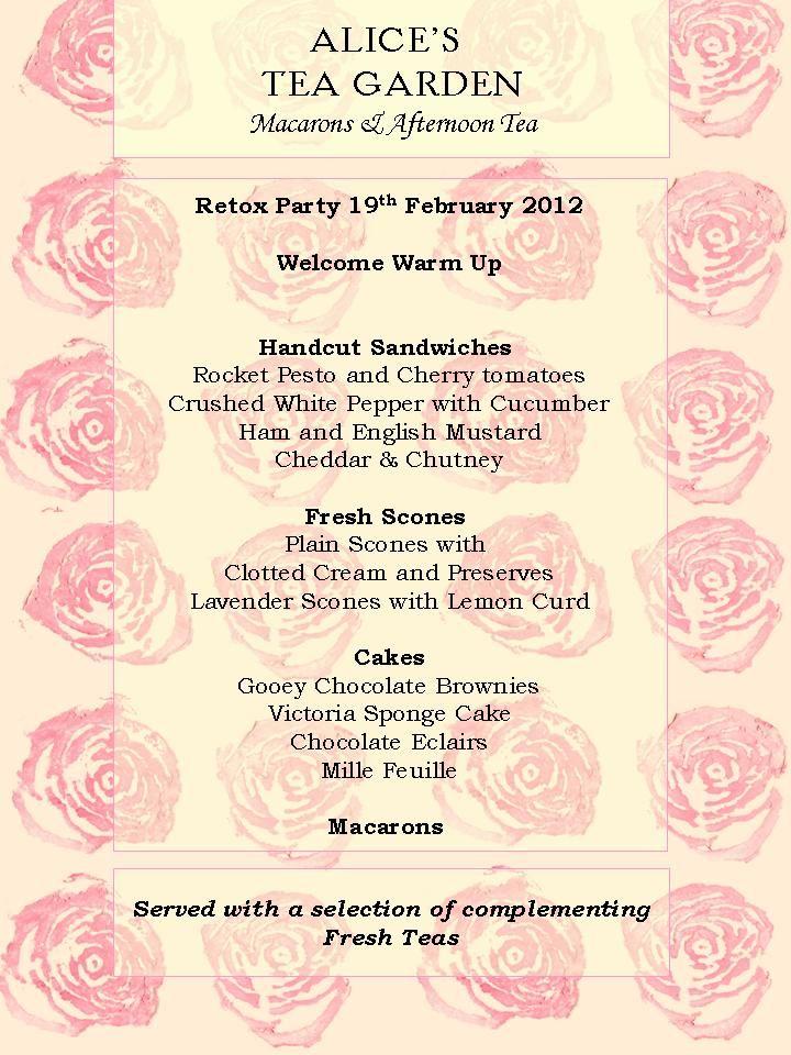 February Afternoon Tea Party Menu Tea party menu, Tea