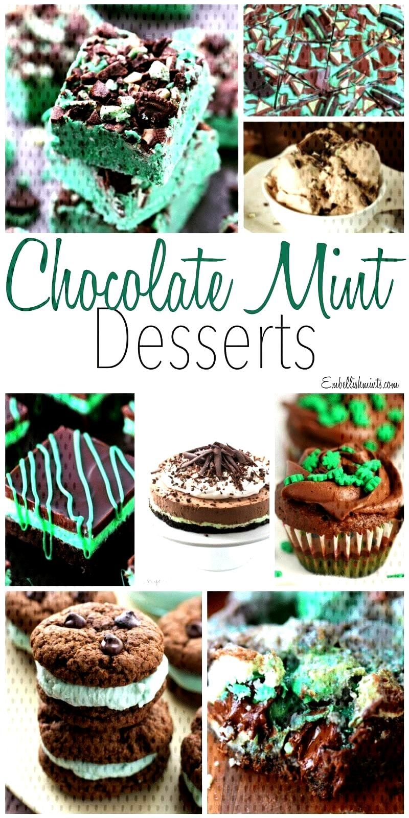 Chocolate Mint Desserts Including Brownies, Cheesecake, Ice Cream... -