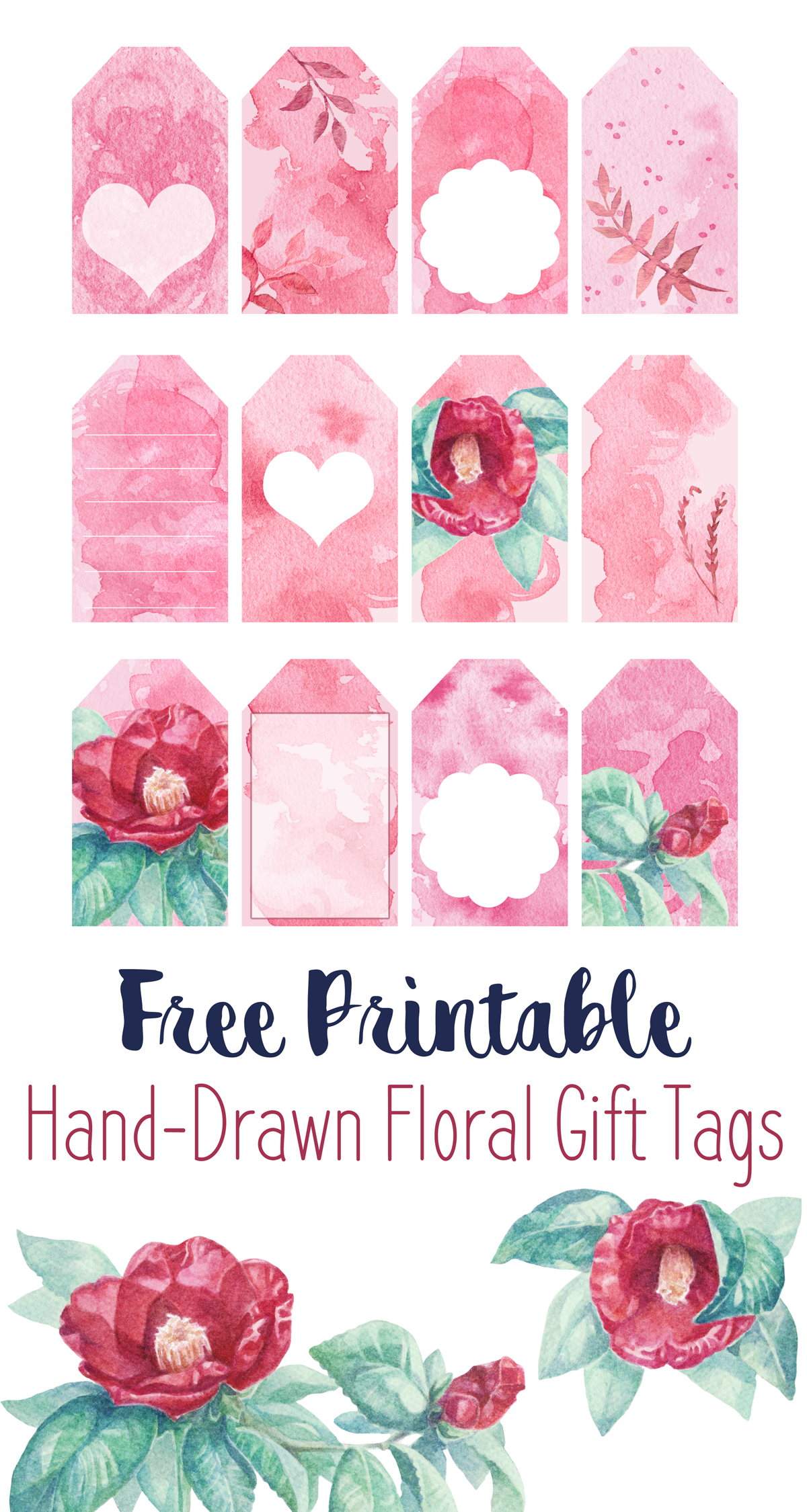 Free Printable Watercolor Flower Gift Tags Hand Drawn Art Turned Into Diy Printables To Use As G Free Printable Gift Tags Free Printable Gifts Free Gift Tags