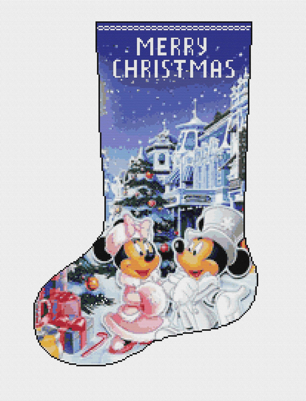 Cross stitch kit christmas sock mickey and minnie 863