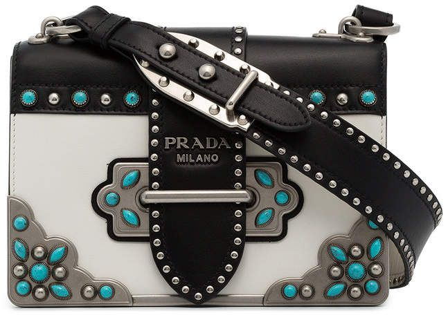3172dbc49a44 $3,450 Prada black and white Cahier Folk mini stud leather bag. Gorgeous! I  want it!!! #prada #mystyle #shoulderbag #bags #bolsos #affiliate #shopstyle  ...