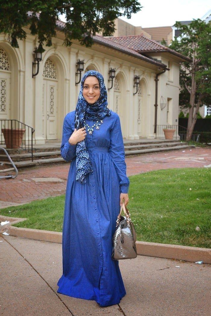 #hijabi #denim #dress. hijabi denim dress. long sleeve ...