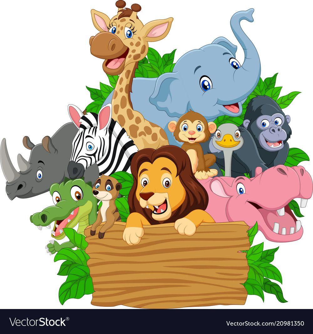 Cartoon wild animal with blank signboard vector image on