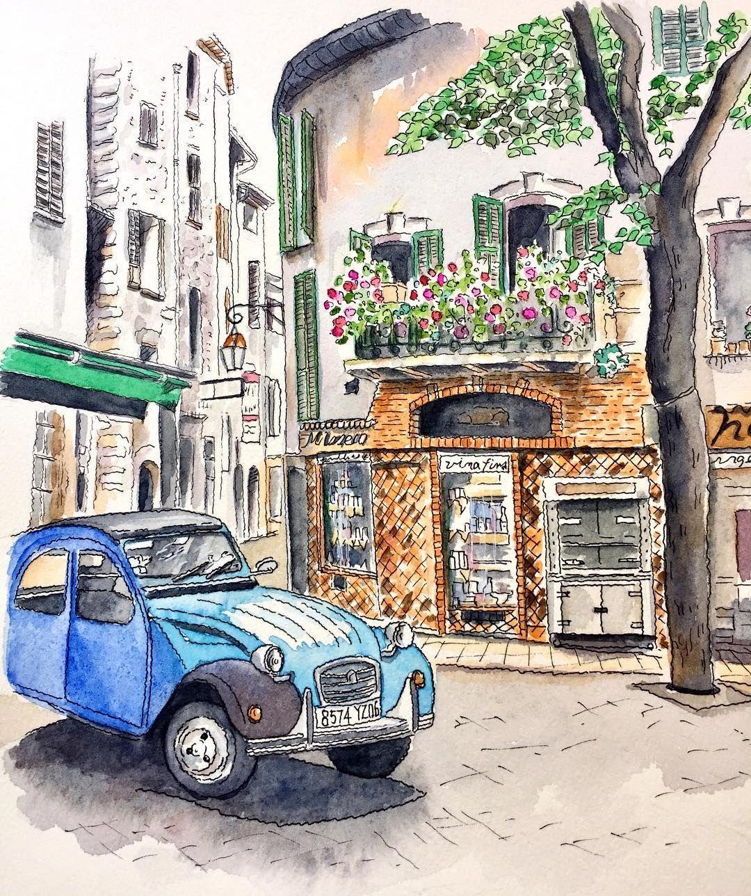 "74 Beğenme, 3 Yorum - Instagram'da いくよ (@ima_iku): ""フランスヴァンス コートダジュールの村のひとつ。 オシャレな車が素敵❗️ #フランス #ヴァンス #ヨーロッパの風景 #風景画 #スケッチ画 #透明水彩画 #イラスト #france…"""