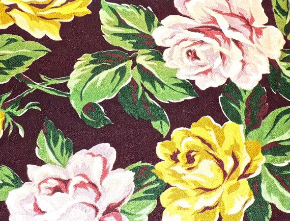 Vintage 1940s mid century floral barkcloth fabric; some extremely minor signs of light-normal age/use but overall fantastic condition. Price is for entire