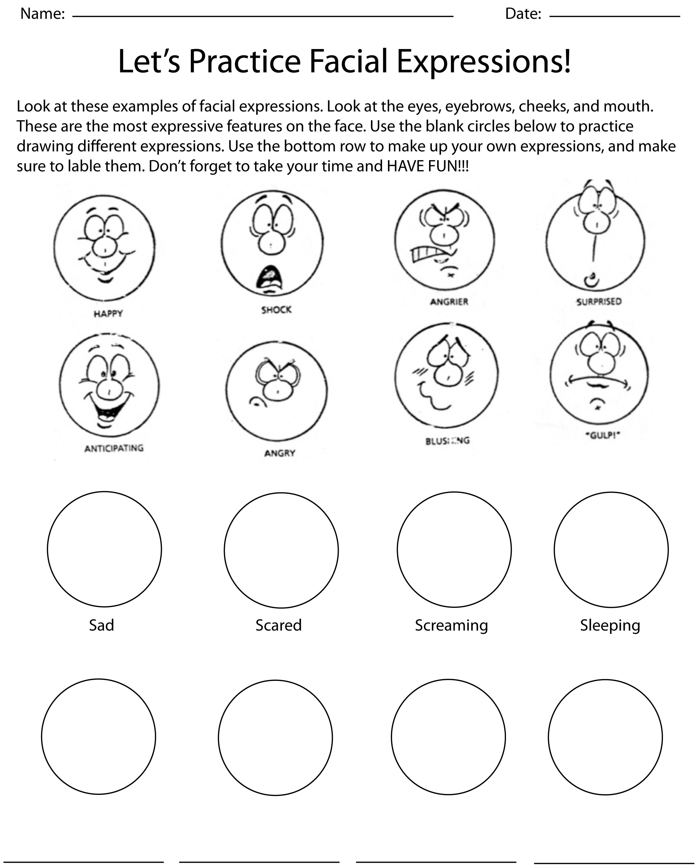 I Made This Worksheet For An Expressive Characters Unit