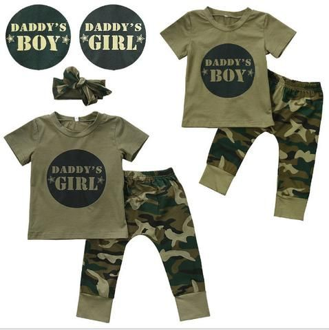 0b2f8312f summer Army Green Boy/Girl New born Baby Boys Girls T-shirt Tops Long