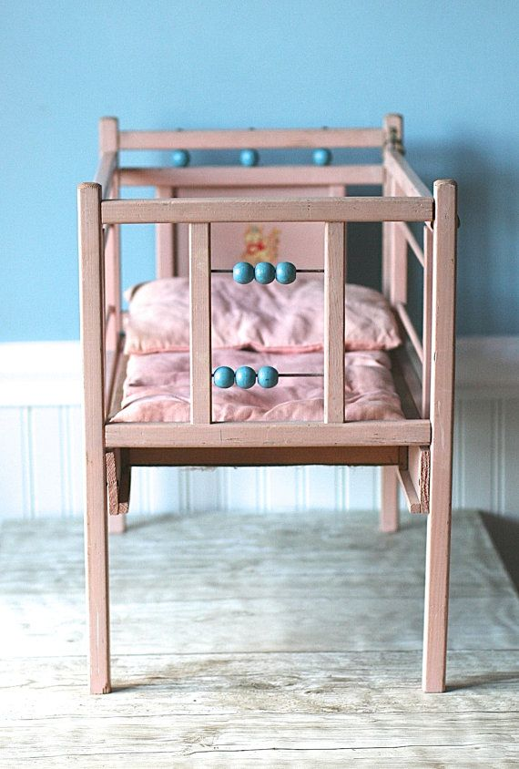 Mid Century Wooden Doll Crib Pink Aqua Decal Unique