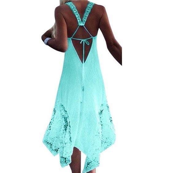 6657272c3d NEW CALOFE Long Beach Swimwear Dress Lace Cover (Plus Size Available) Beach  Dresses,