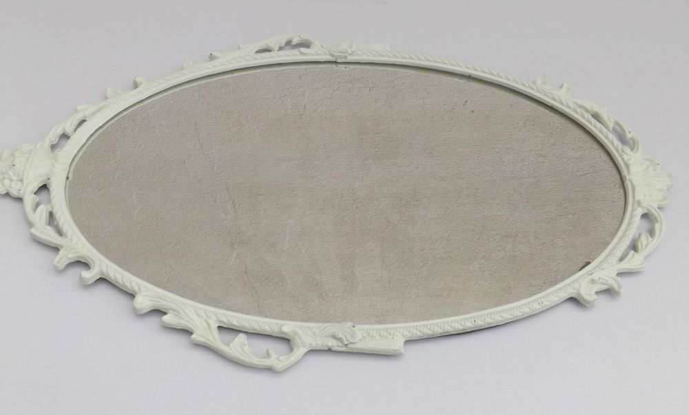 Floral Metal Painted Framed Oval Mirror