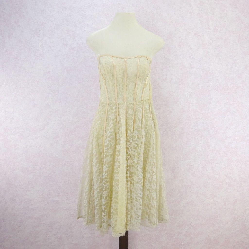 Lace dress 50s  Vintage s Strapless Lace u Satin Fit u Flair Dress  Products
