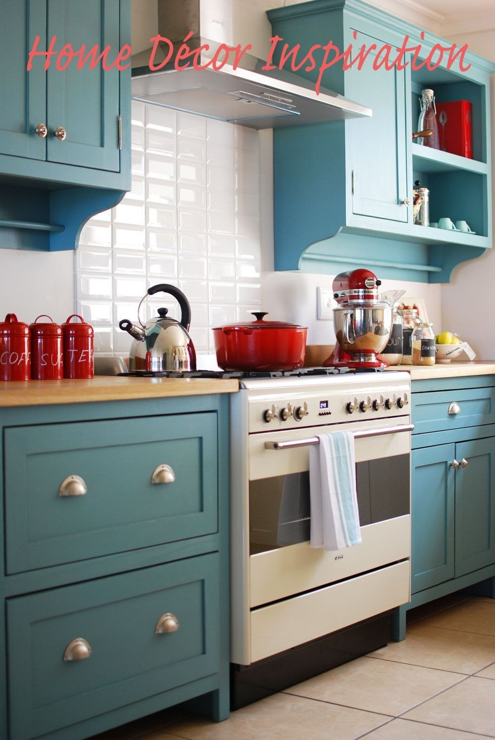 Red and Teal Kitchen Decor Luxury Base Cabinets with ...