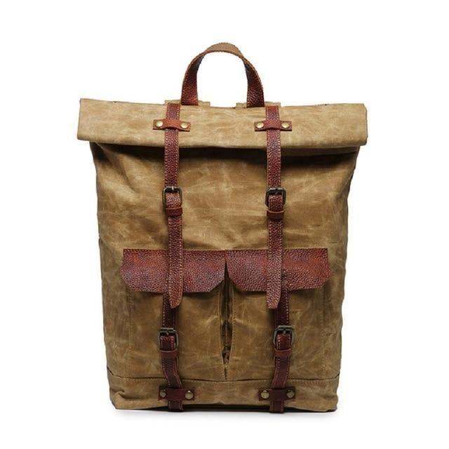 Retro Waxed Canvas Laptop Backpack Roll Top Waterproof