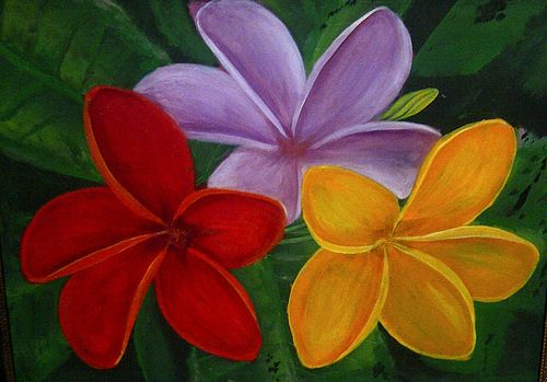 BALI'S FLOWERS , OIL PAINTING ON CANVAS
