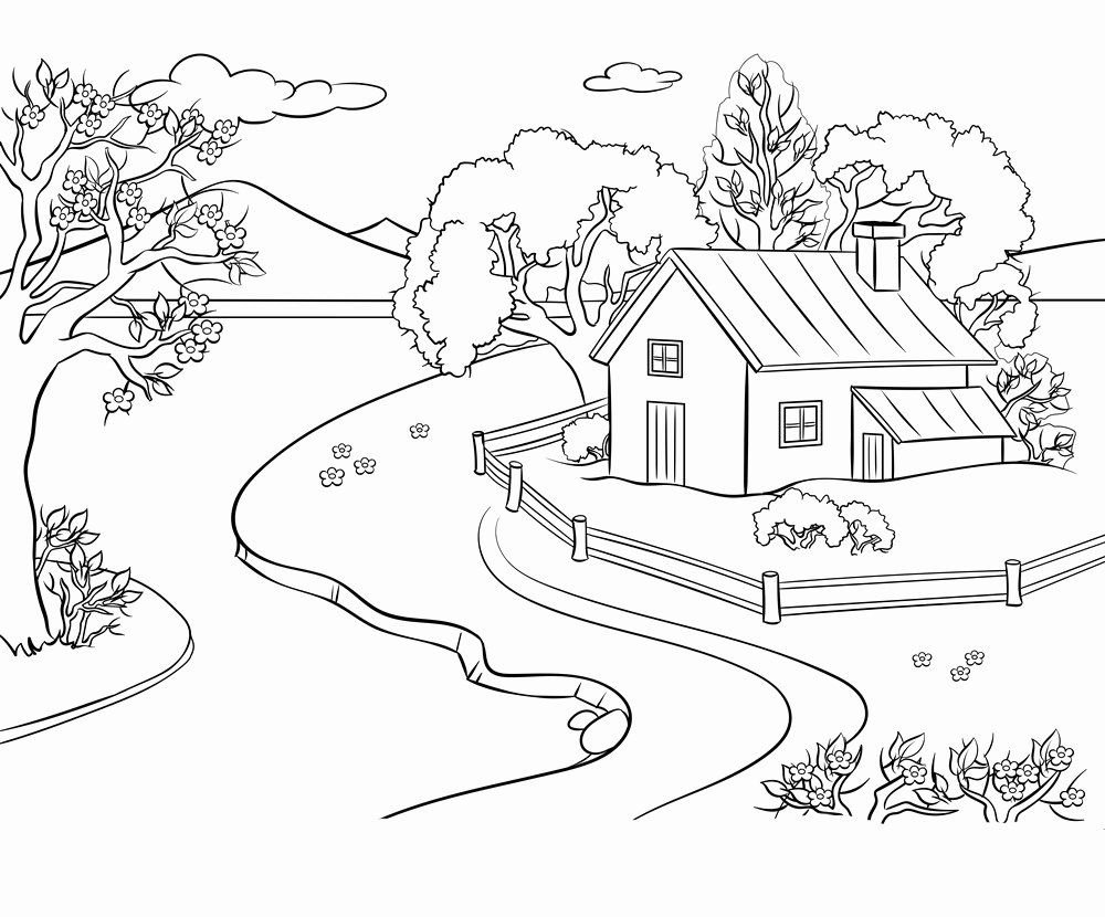 Coloring Activities For Kindergarten Students Fresh Coloring Pages Landscape Coloring Sheets Spring Pages T Coloring Pages Nature Coloring Books Coloring Pages