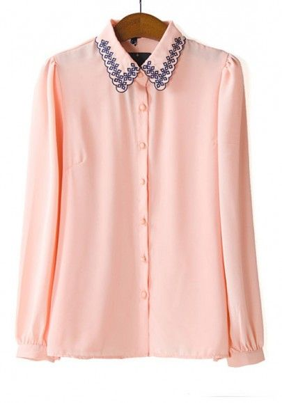 13447e656bb Pink Embroidery Plain Turndown Collar Wrap Chiffon Blouse
