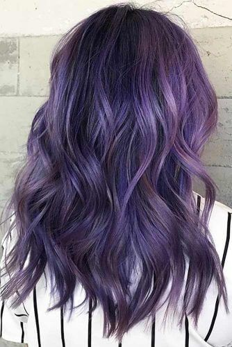 Mixing Hints Of Black Into A Full Base Of Purple This Look Is A Beautiful Option For Deep Dark Purple Hair Purple Hair Color Highlights Dark Purple Hair Color