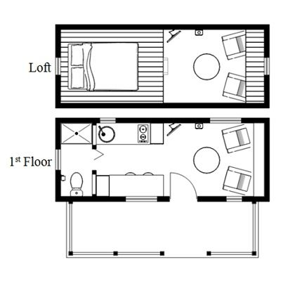 Tiny House On Wheels Plans a sample from the book tiny house floor plans 8x20 tiny house with lower level Humblebee Porch Tiny House Plans With Side Entrance Photo