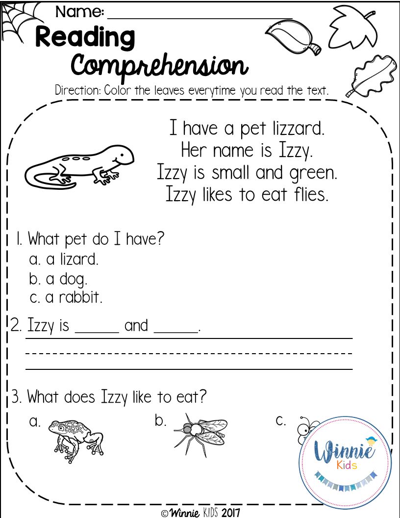 Kindergarten Reading Comprehension Passages - Fall | Reading ...
