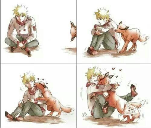 Naruto and Kurama, nine tail fox demon