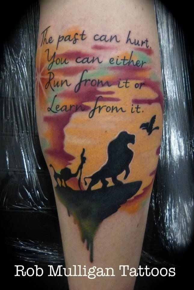 Lion King Tattoo Full Colour On The Back Of A Calf Disney Tattoos