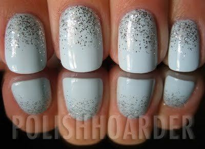 Paint Nail A Base Color Put A Dab Of Of Glitter Polish At The Base Of The Nail Use Clear Top Coat Immediately And Drag The Glitter Nail Polish Nails Manicure