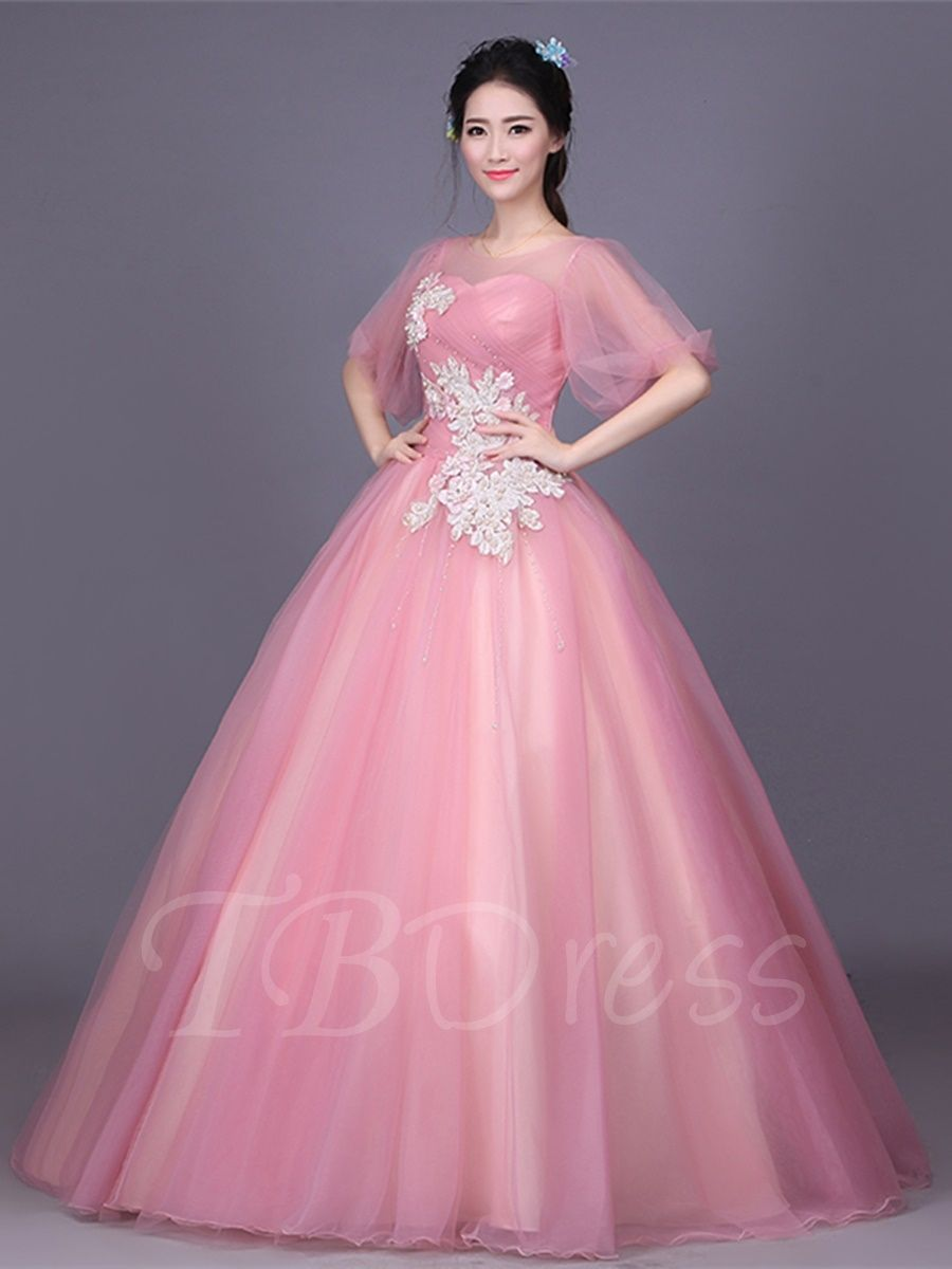 263772bad51 Tbdress.com offers high quality Appliques Embroidery Flowers Pearls Floor-Length  Quinceanera Dress Ball Gowns unit price of   167.99.