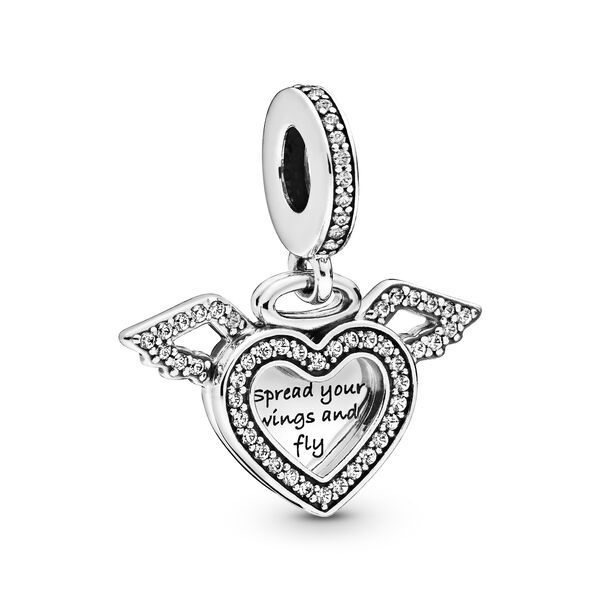4 Angel wing heart charms silver plated tone Dangly Heart Dropper
