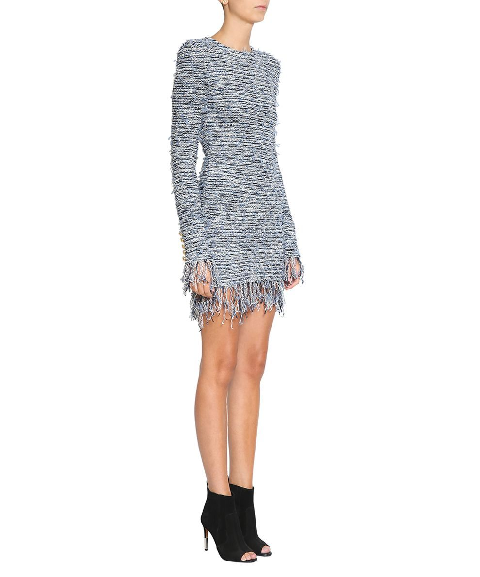 880d3db44e7f76 Balmain Fringed Tweed Dress
