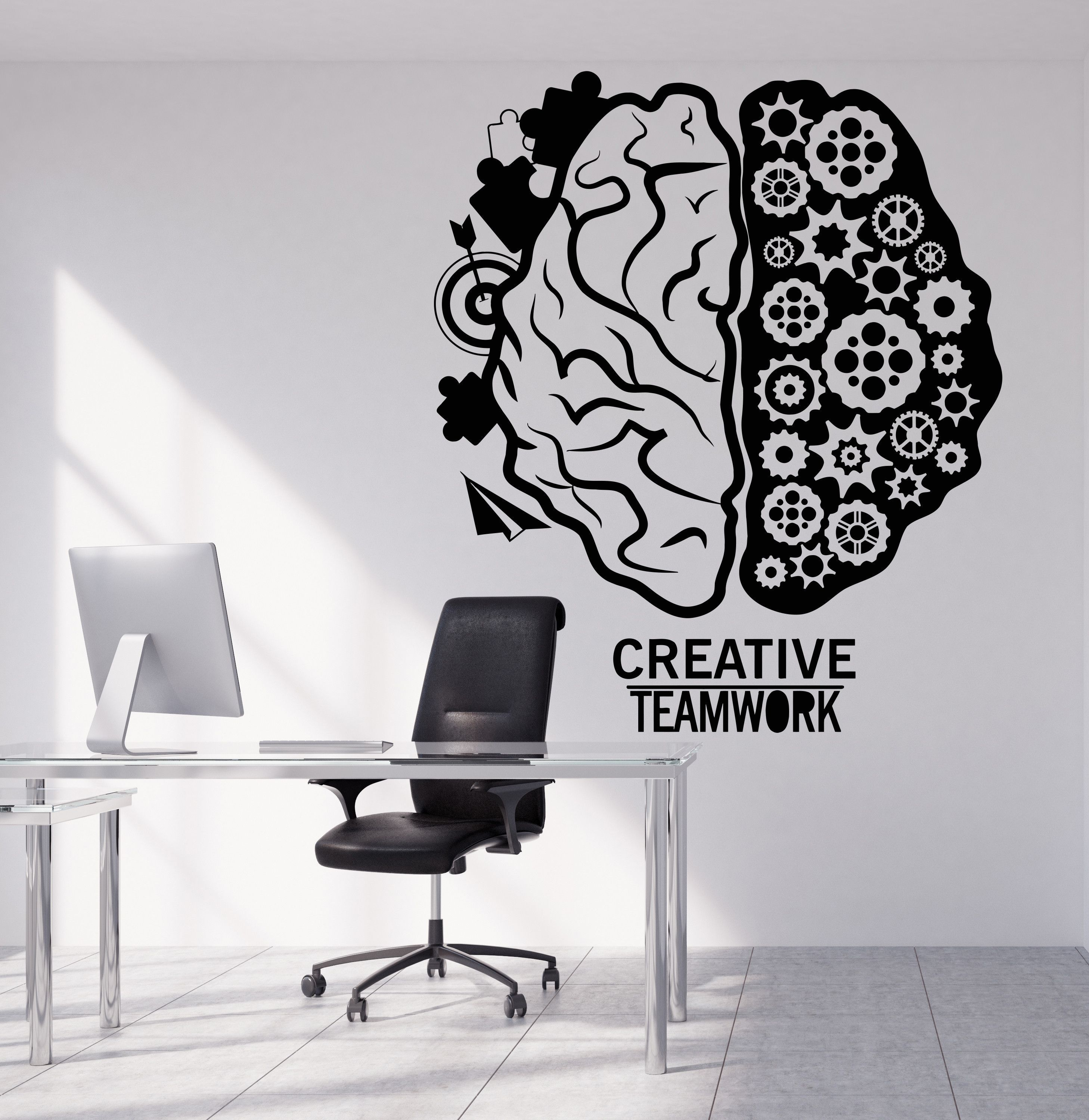 Vinyl Wall Decal Brain Teamwork Gear Creative Office Decor Stickers