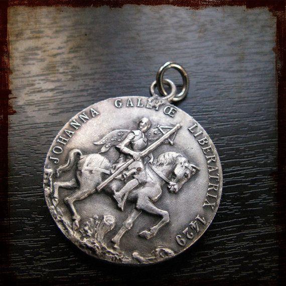 Very big vintage french silver saint joan of arc on horse religious very big vintage french silver saint joan of arc on horse religious medal with fleur de aloadofball Gallery
