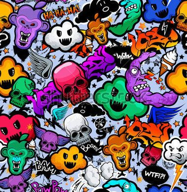 Graffiti Dibujos Animados Personajes Rocambolescos Funky Monstruo