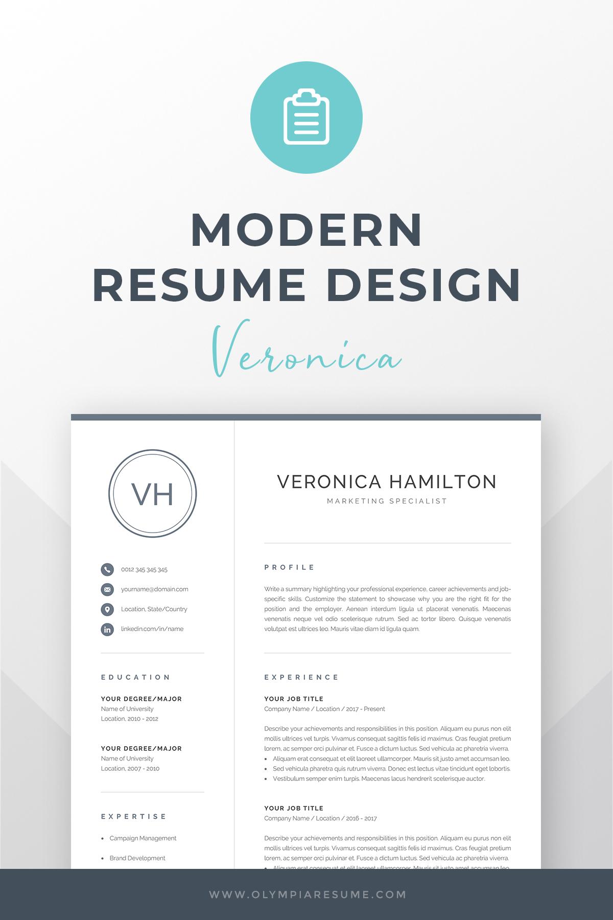 Resume Template With Monogram 1 2 Page Resume Modern Etsy Resume Template Word Creative Cv Template One Page Resume Template