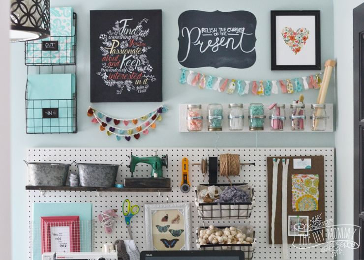 A Beautiful, Colorful Craft Room Office Wall With Pegboard For Storage,  Baskets, #