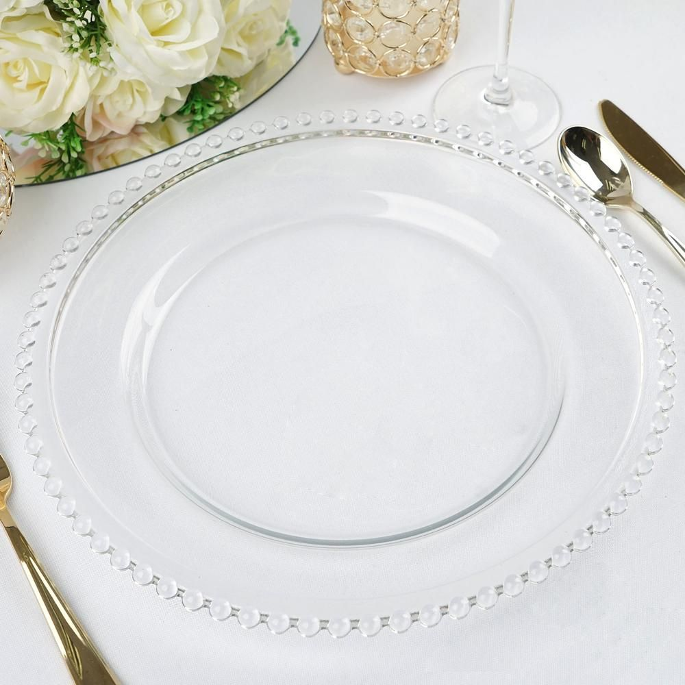 8 Pack 12 Round Clear Beaded Rim Glass Charger Plates Glass Charger Plates Charger Plates Wedding Glass Beaded Charger Plate