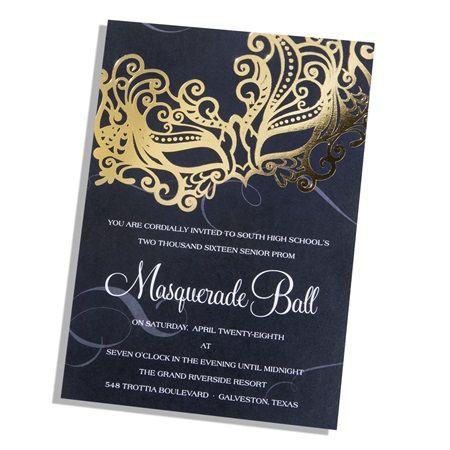 golden enigma mask invitation masquerade prom or party invitation